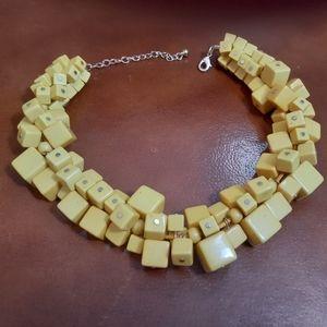 VTG bright yellow blocks statement necklace